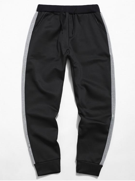 outfits Contrast Side Stripe Elastic Fleece Pants - BLACK XS