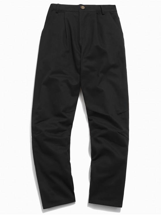 Pantalon patchwork en velours côtelé à fermeture éclair - Noir M