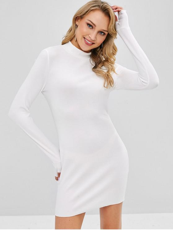 shops Knitted High Neck Fitted Dress - WHITE XL