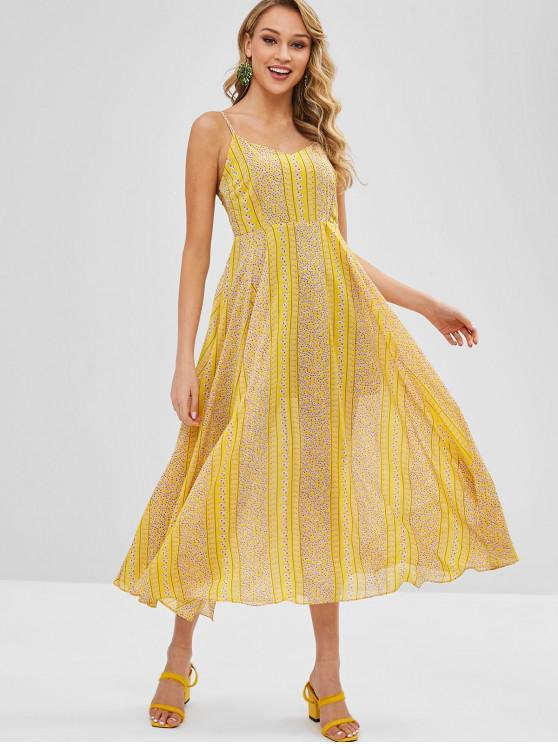 Impressão Floral A Line Flowy Cami Dress - Amarelo M