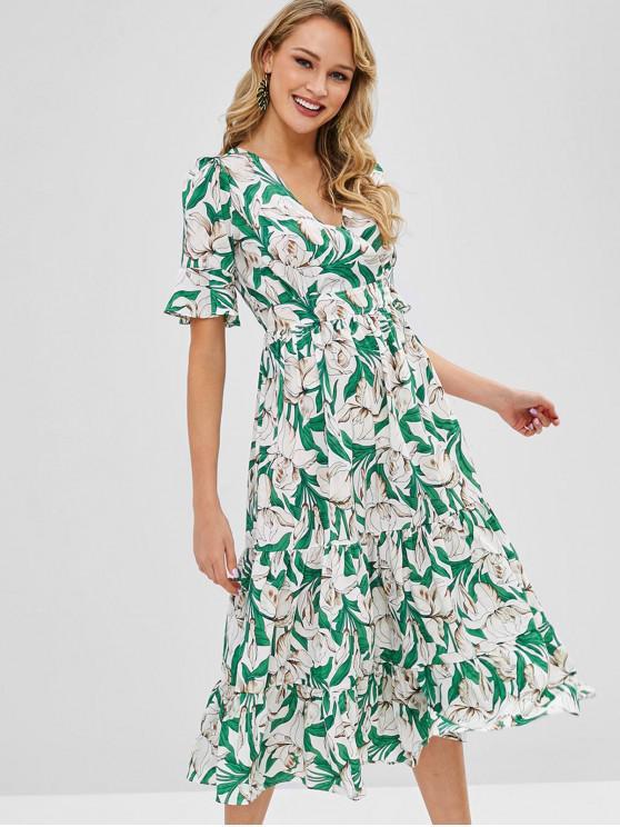 Vestido de Midi de Surplice de estampa floral - Multi S