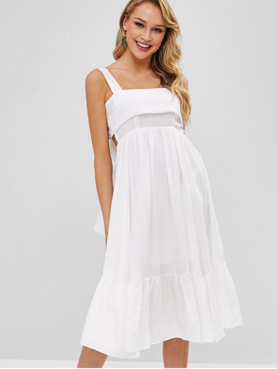 Laço de pescoço quadrado vestido de volta Midi - Branco L
