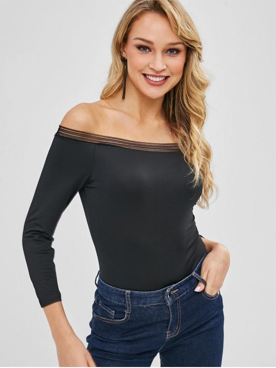Snap Crotch Fora Do Ombro Bodysuit - Preto XL