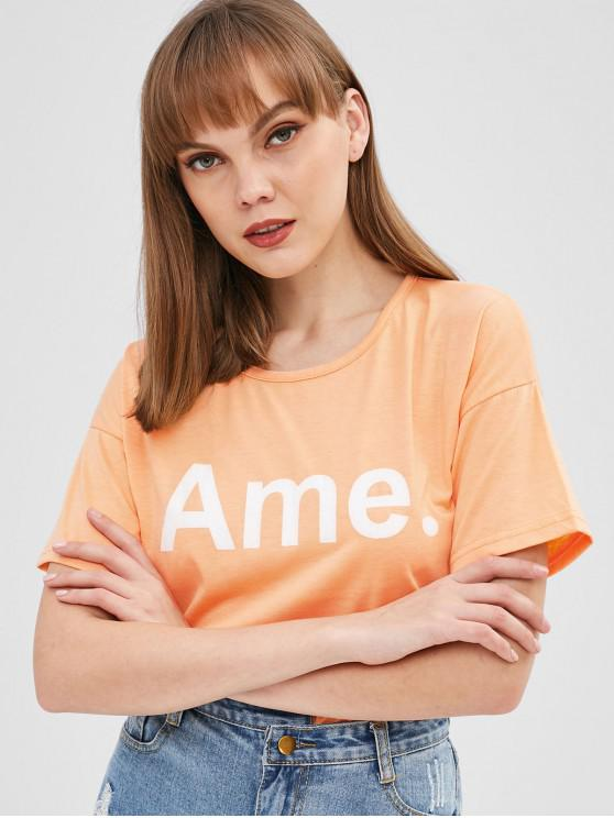 outfit Ame Full Stop Graphic Tee - DEEP PEACH ONE SIZE
