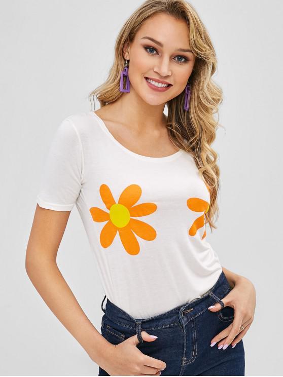 T-shirt Graphique Fleuri à Manches Courtes - Blanc de Crème  Taille Unique
