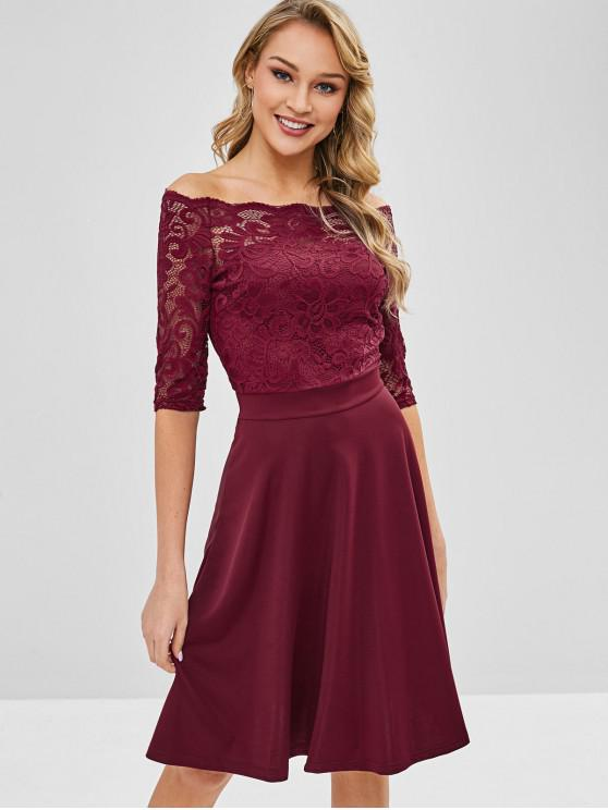 shop Off Shoulder Lace Scalloped Party Dress - RED WINE L