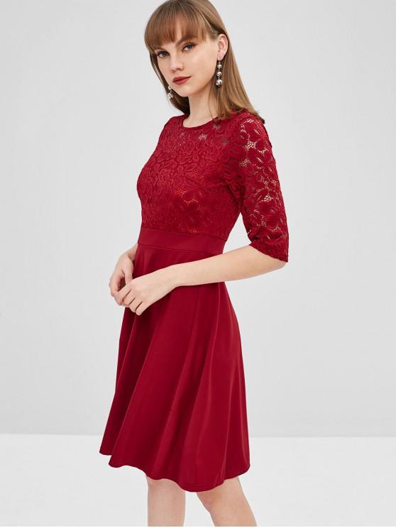 ladies Lace Insert Flare Dress - RED WINE L