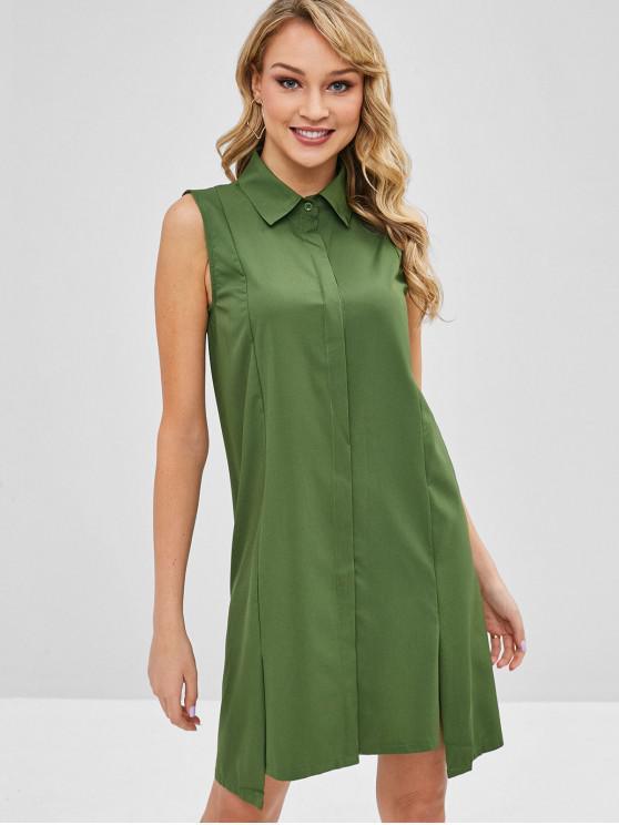 affordable Slit Shirt Dress - DEEP GREEN S