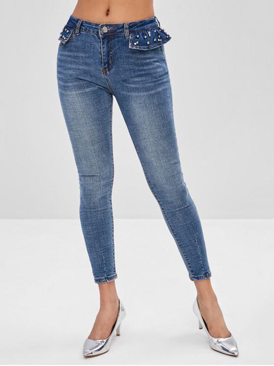 ladies Ruffles Rhinestone Skinny Jeans - DENIM BLUE M
