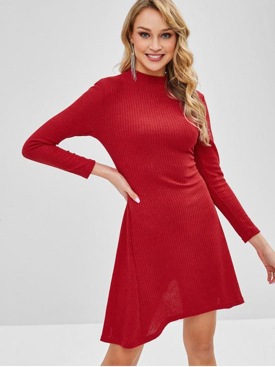 lady Long Sleeve Ribbed Sweater Dress - RED M