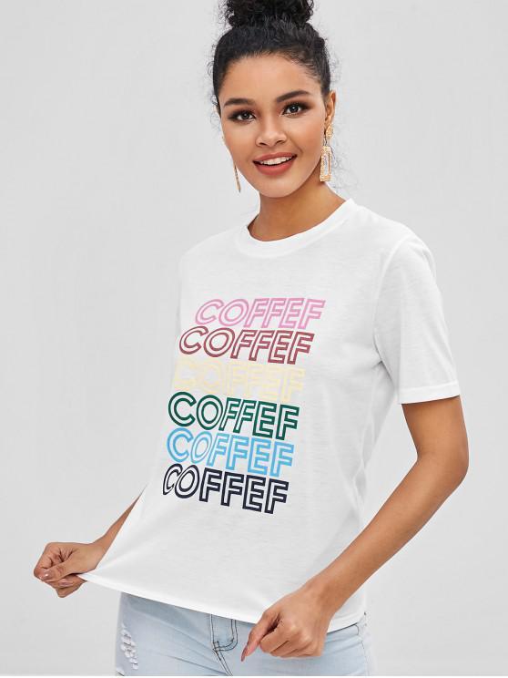 Camiseta con gráfico Coffef en contraste - Blanco L