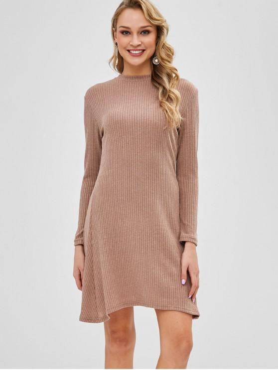 outfit Long Sleeve Ribbed Sweater Dress - CAMEL BROWN M