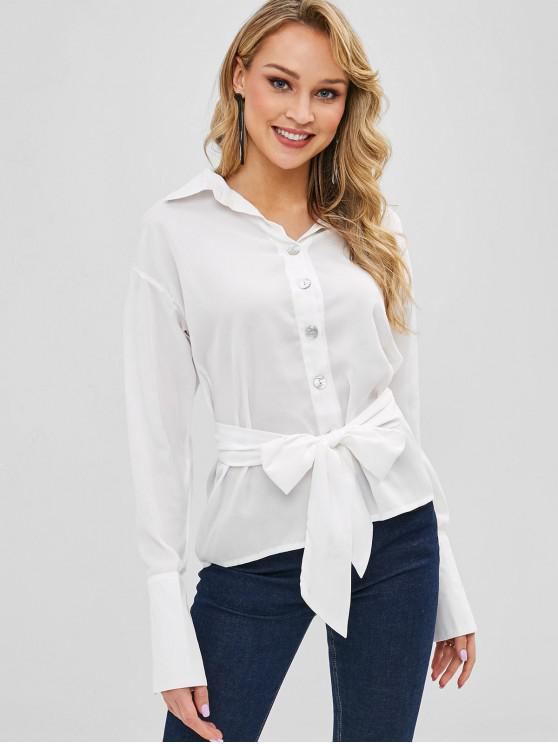 fashion Belted Button Down Shirt - MILK WHITE S