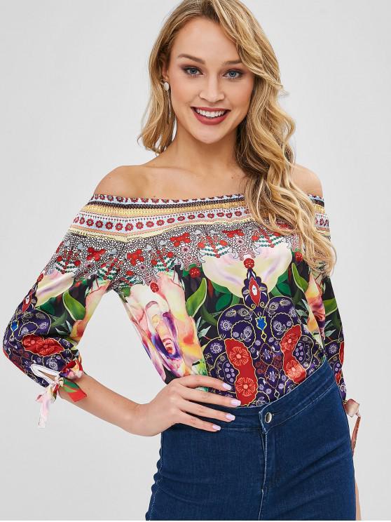 fancy Off Shoulder Knotted Floral Print Blouse - MULTI-A M