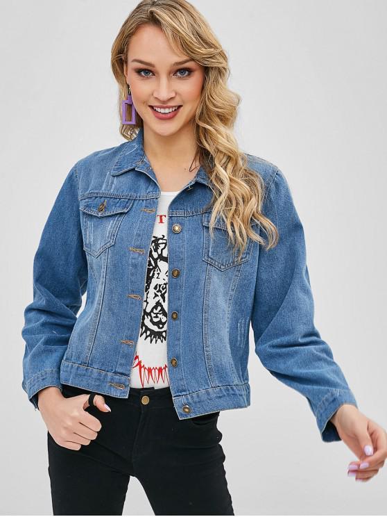 buy Flap Pockets Button Up Denim Jacket - DENIM BLUE L