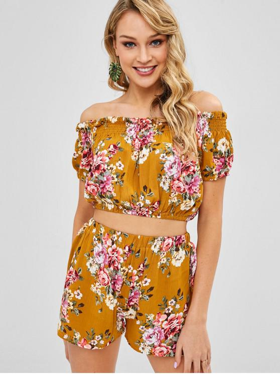 fashion Smocked Floral Off Shoulder Top And Shorts Set - CARAMEL M
