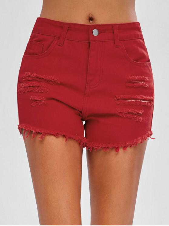 sale Ripped Jean Shorts - RED M