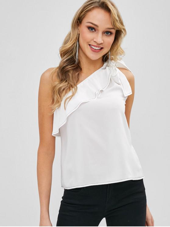 lady Ruffles Knotted One Shoulder Sleeveless Top - MILK WHITE S