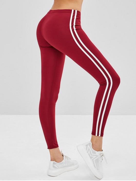 big sale 3c9bf 2662a Leggings Aderenti A Righe Laterali BLACK RED WINE