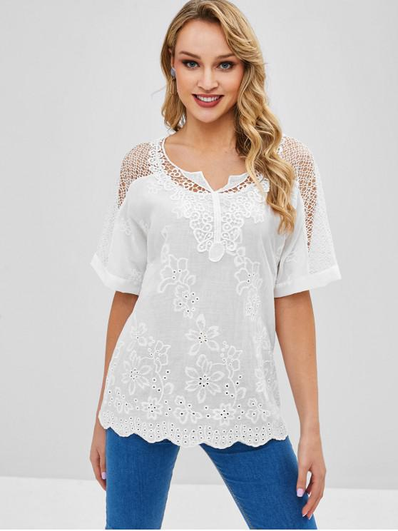 shops Crochet Panel Notched Openwork Blouse - WHITE L