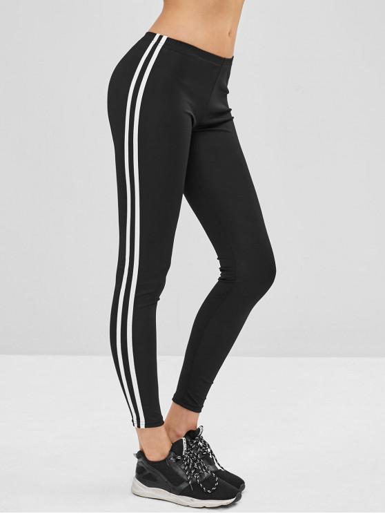 trendy Striped Side Skinny Leggings - BLACK XL