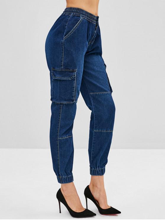 unique Flap Pockets Jogger Jeans - DENIM DARK BLUE M