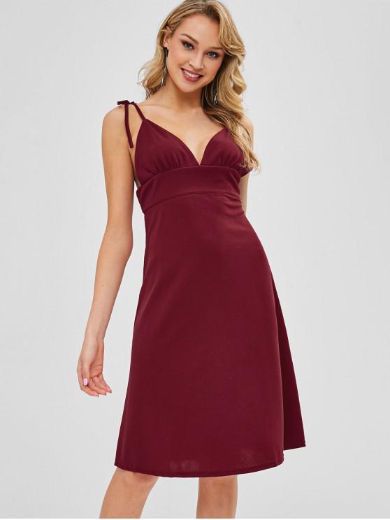 ladies Tie Shoulder Cami Backless Knee Length Dress - RED WINE S