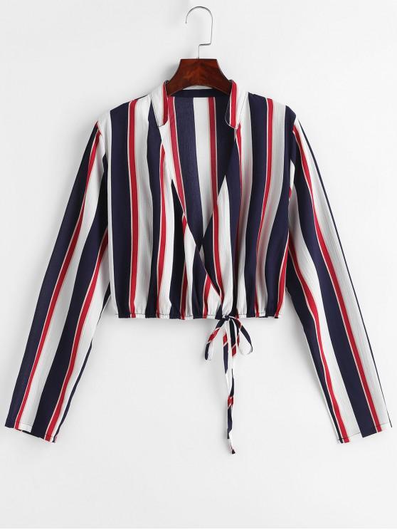 lady Striped Tie Surplice Top - MULTI-A S