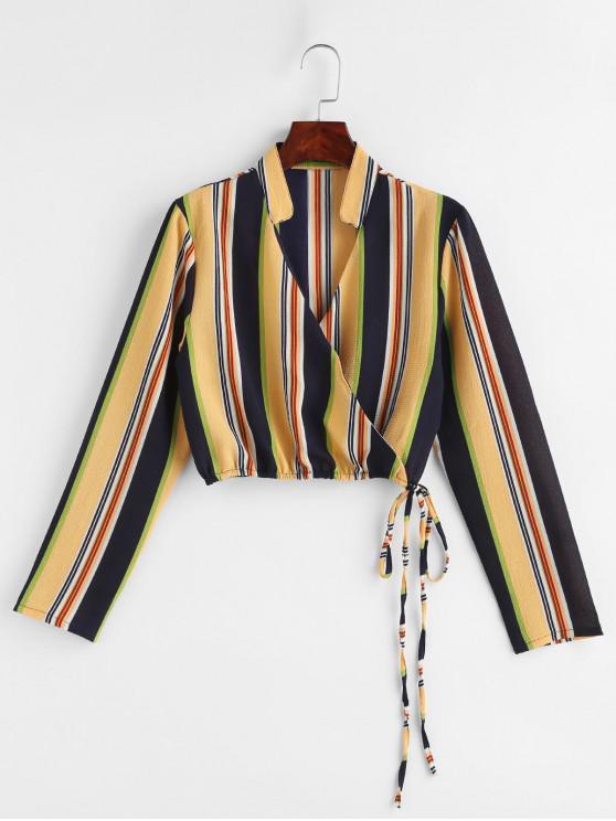 Top de rayas de corbata a rayas de colores - Amarillo L