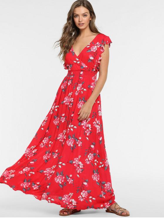 affordable ZAFUL Boho Floral Backless Ruffled Dress - RED L