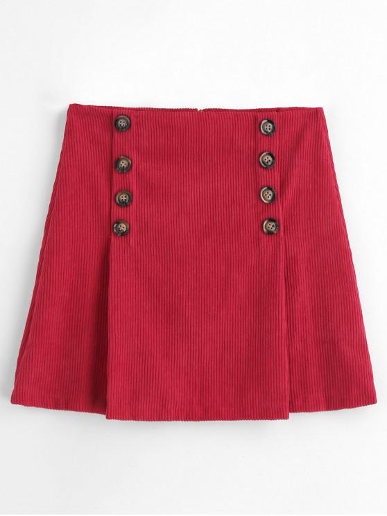 shops A Line Buttoned Corduroy Mini Skirt - RED XL