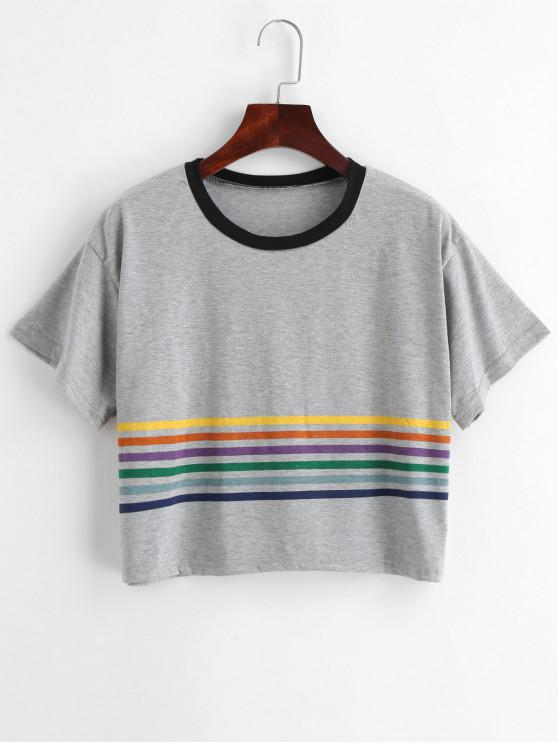 shops Cropped Striped Boxy Tee - GRAY CLOUD M