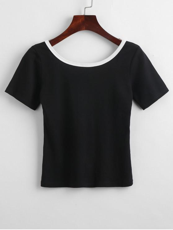 womens Low Open Back Cropped Jersey Tee - BLACK ONE SIZE