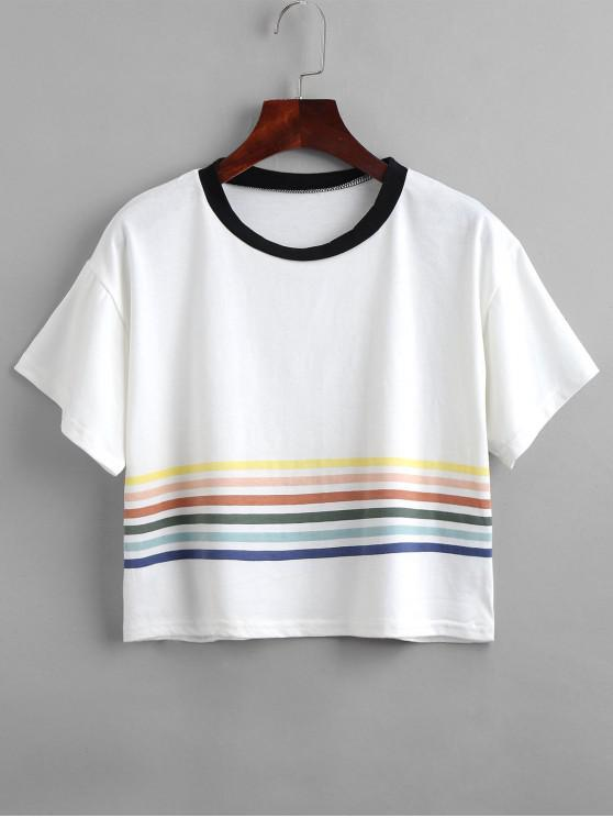 new Cropped Striped Boxy Tee - WHITE S