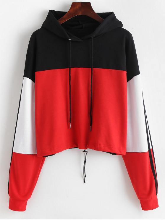 outfits ZAFUL Drawstring Hem Colorblock Hoodie - MULTI S