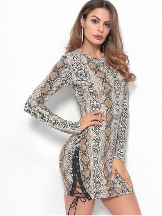 women Lace Up Snakeskin Print Bodycon Dress - MULTI M
