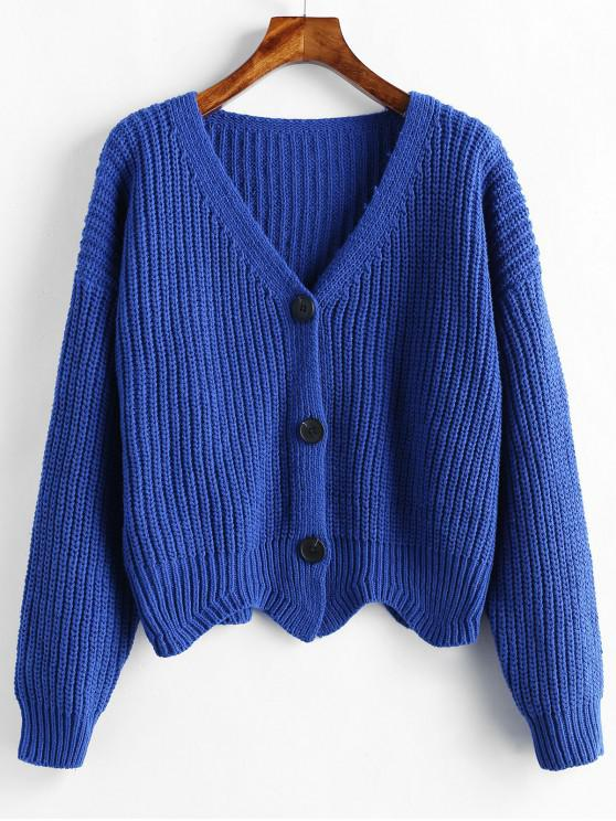 outfits Scalloped Hem Chunky Knit Cardigan - DEEP BLUE ONE SIZE