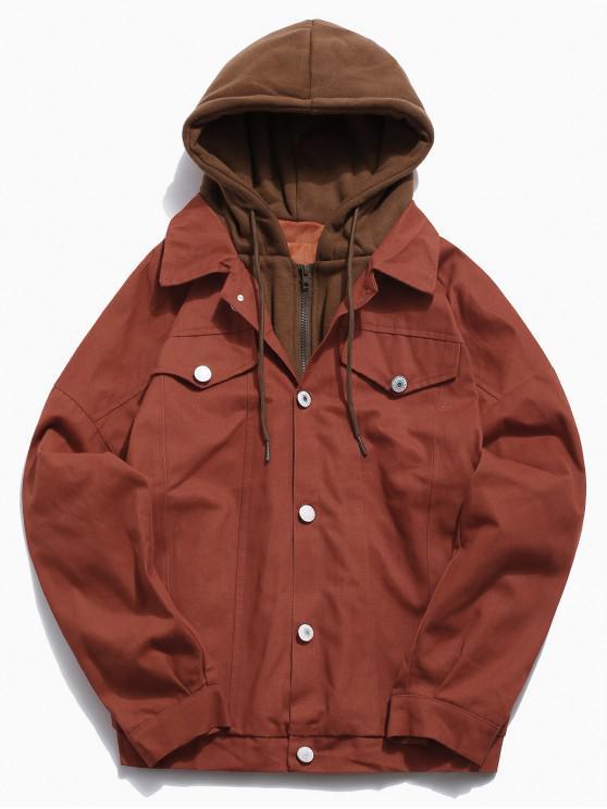 affordable Color Block False Two Piece Jacket - PUMPKIN ORANGE XL