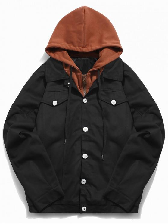 shops Color Block False Two Piece Jacket - BLACK XL