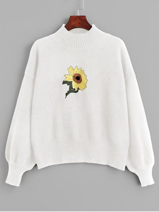 shop Mock Neck Sunflower Embroidery Sweater - WHITE ONE SIZE