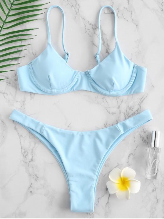 lady ZAFUL Underwire Cami Bikini Set - LIGHT BLUE M