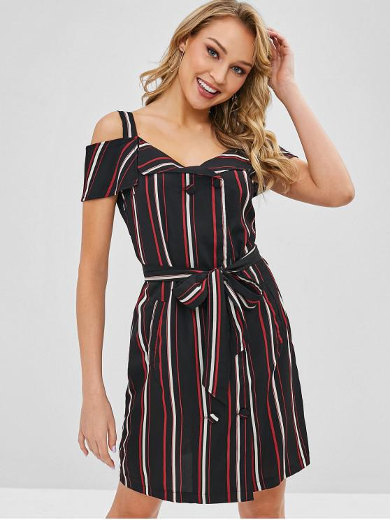 women's Double Breasted Stripes Cold Shoulder Dress - MULTI M