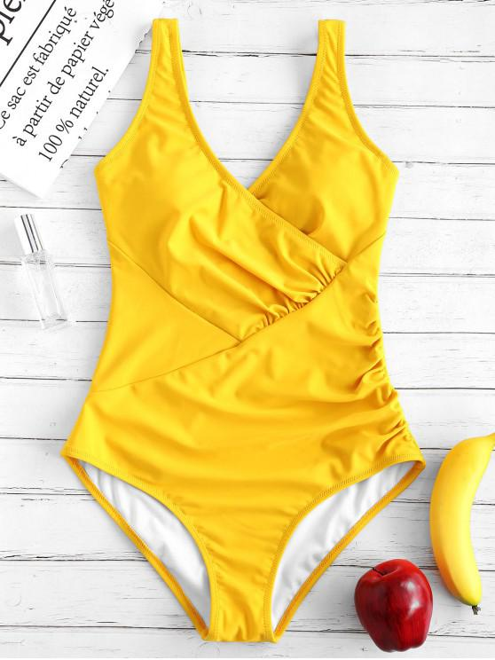 womens ZAFUL Ruched Surplice One Piece Swimsuit - BRIGHT YELLOW L