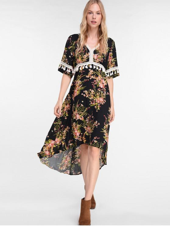 latest ZAFUL Asymmetric Floral Tassel Boho Dress - BLACK S