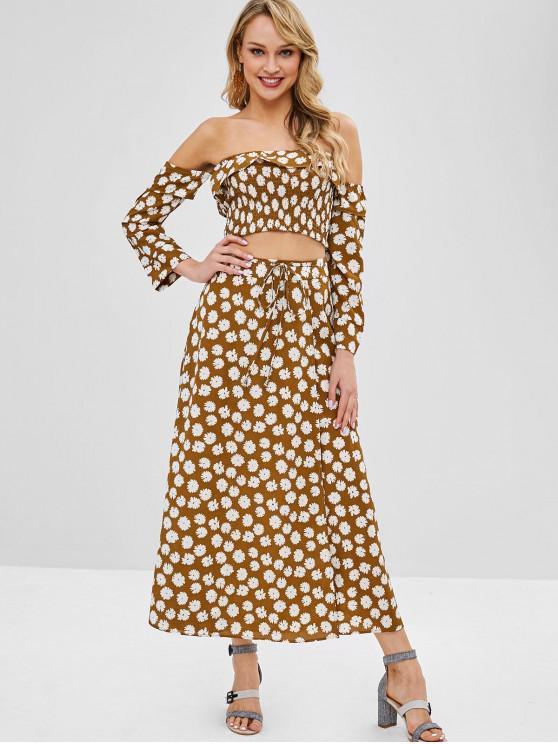 latest ZAFUL Floral Smocked Off Shoulder Skirt Set - KHAKI S