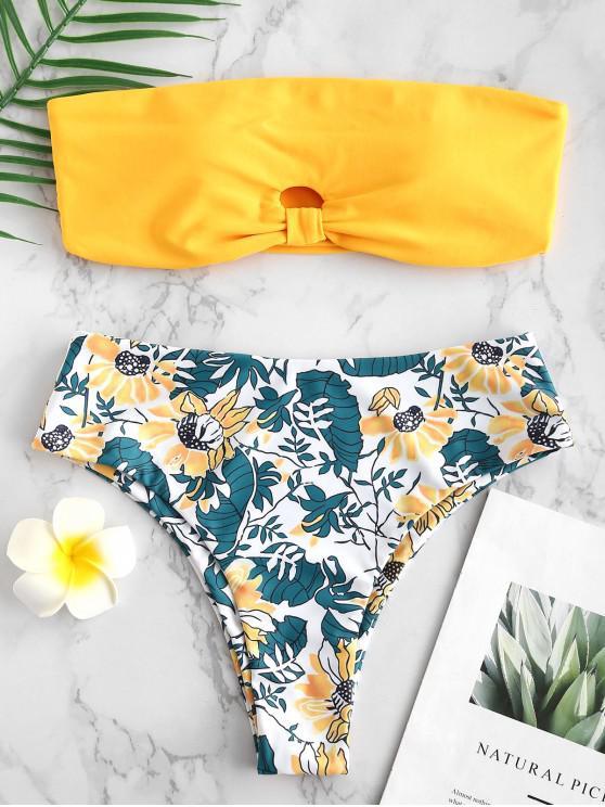 best ZAFUL Flower Keyhole Bandeau Bikini Set - BRIGHT YELLOW L