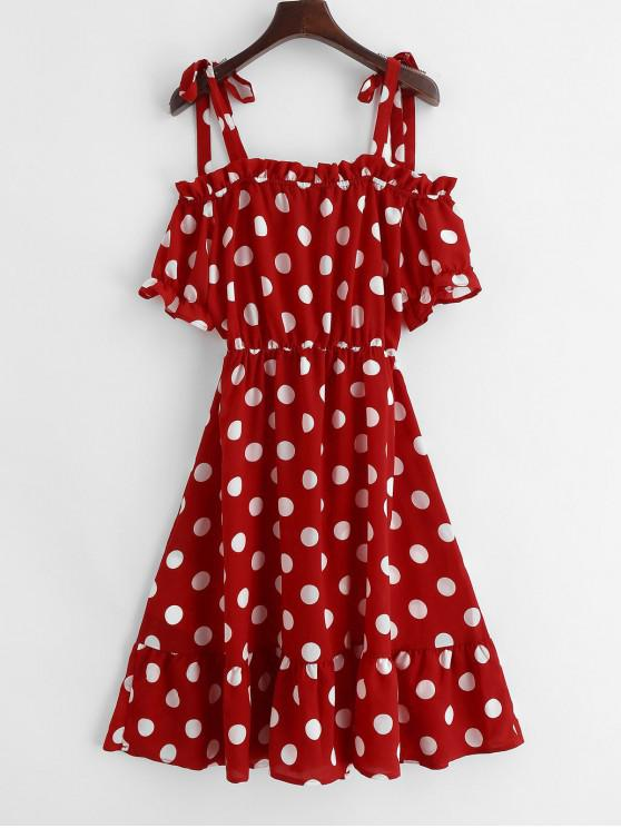 online ZAFUL Tied Straps Ruffles Polka Dot Dress - LAVA RED ONE SIZE