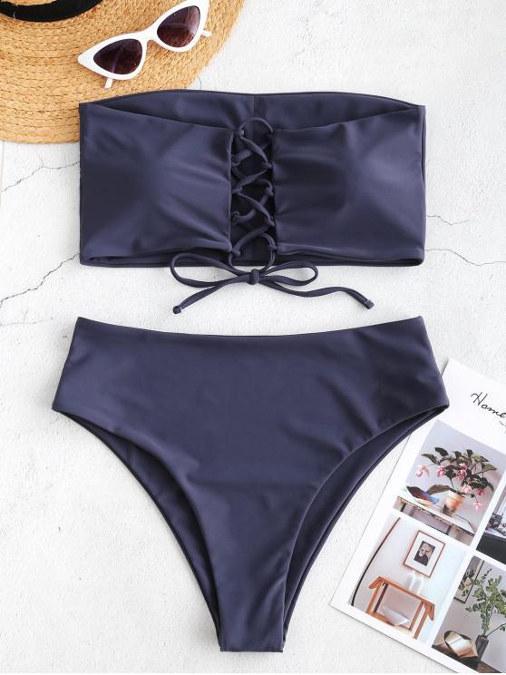womens ZAFUL Lace-up High Rise Bandeau Bikini Set - JET GRAY S