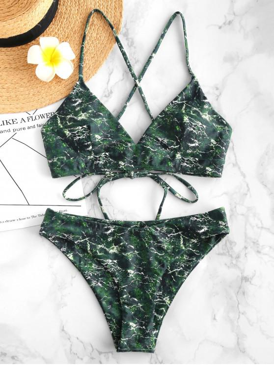 sale ZAFUL Marble Lace Up Bikini Set - MULTI-A S