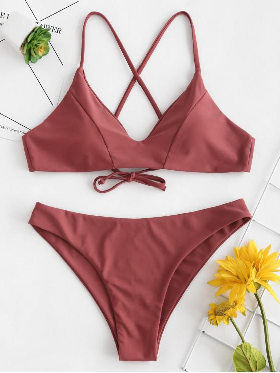 shop ZAFUL Crisscross Bikini Set - LIGHT CORAL L